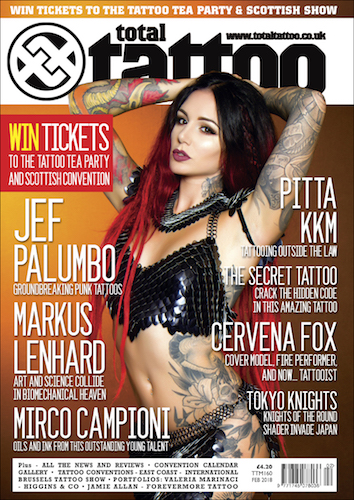 cover of total tattoo magazine with Cervena Fox wearing a black scalemaille bra