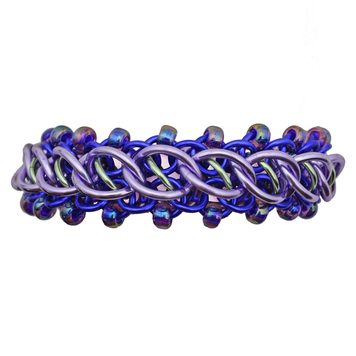 pirouette chainmaille weave by rebeca mojica in lavender seafoam and purple
