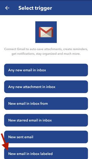 IFTTT screenshot select gmail trigger