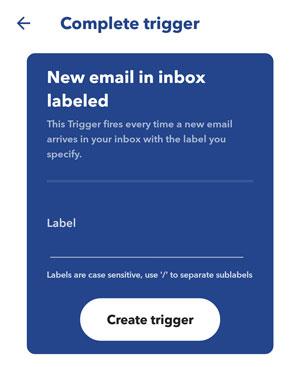 IFTTT screenshot create trigger