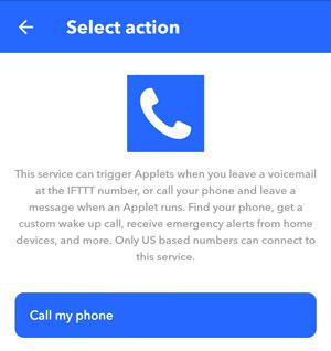 IFTTT screenshot select action call my phone