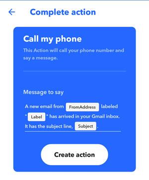 IFTTT screenshot create action call my phone