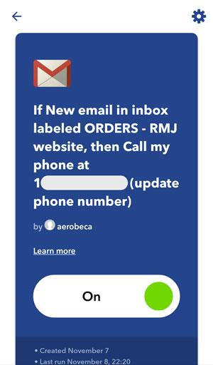 IFTTT screenshot - applet by aerobeca