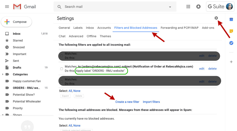screenshot gmail desktop settings gear icon create new filter