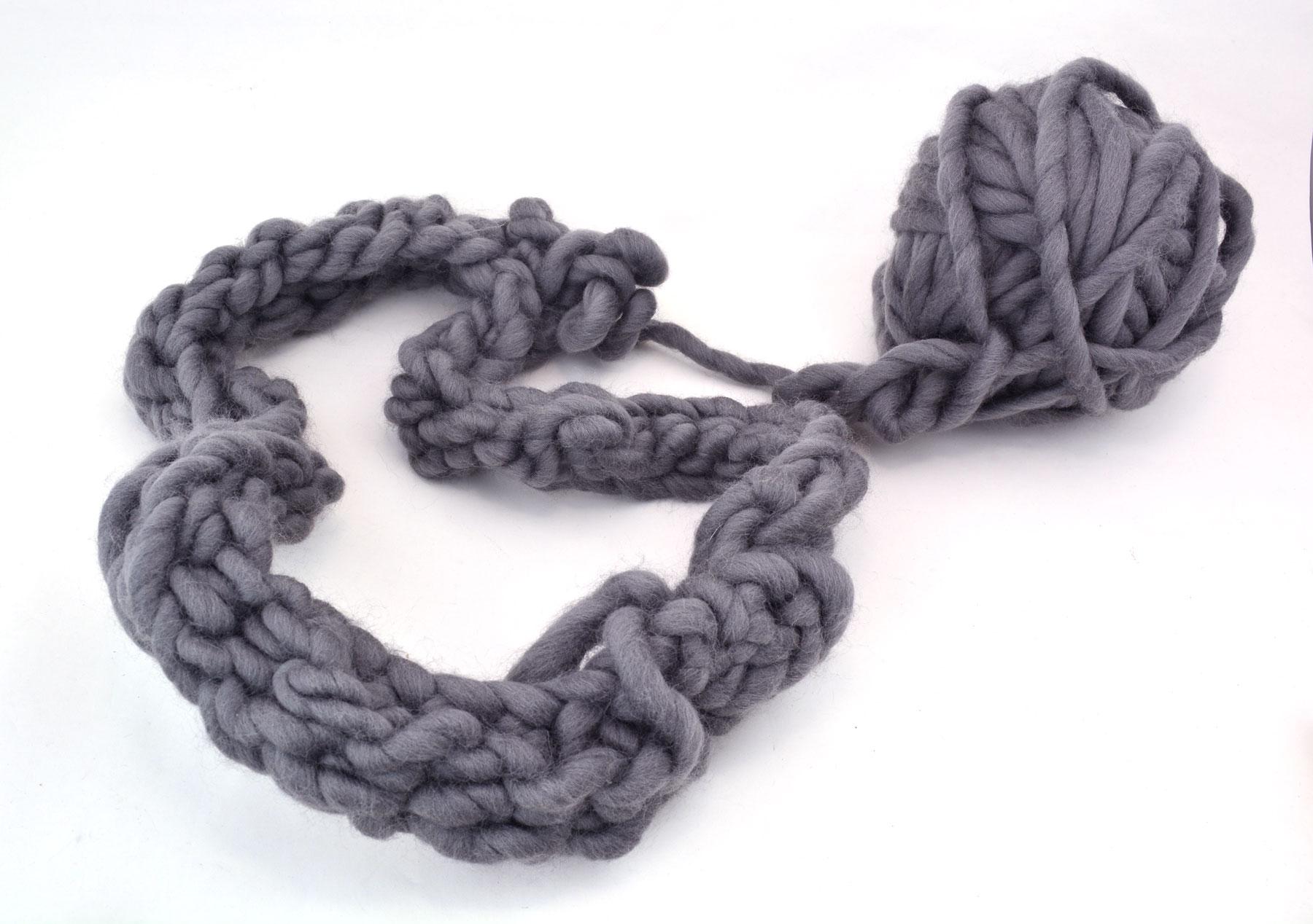 crochet fail - chunky grey yarn in a tight mess
