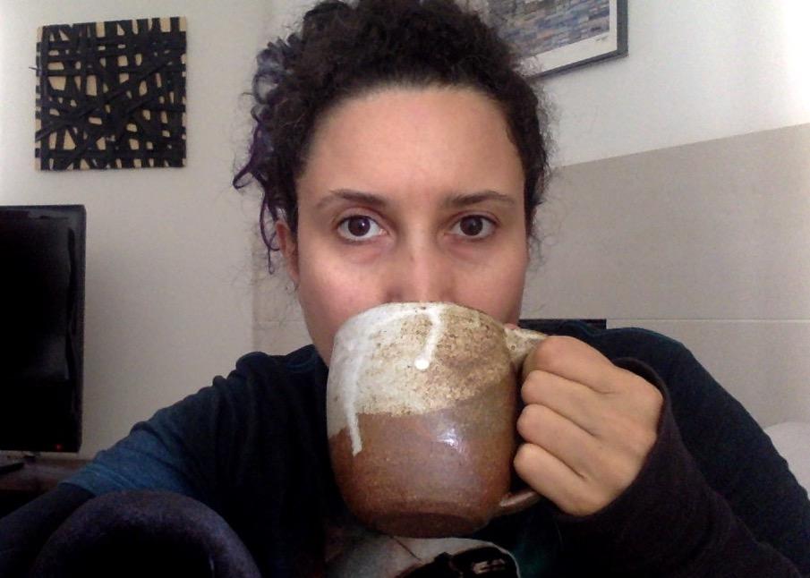 rebeca mojica drinking tea