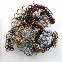 chainmaille mesh scraps in brown, grey and silver