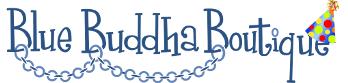 blue buddha boutique logo with celebration hat