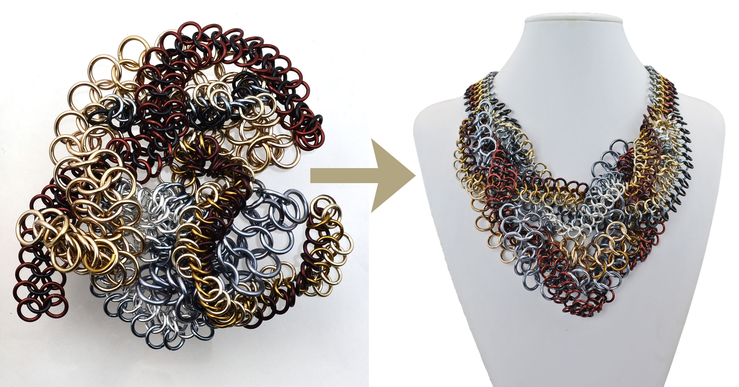 pile of metal mesh links at left with arrow pointing to assembled necklace made from the links at right