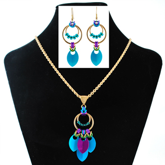 Nouveau  chainmaille Earrings and Necklace by April Hannah Llewellyn
