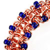 Beaded Gridlock Byzantine, KIT - Beaded Gridlock Byzantine - Aluminum, gridlock byzantine chainmaille bracelet kit in copper and blue seed beads