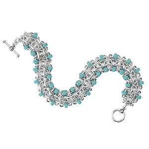 chainmaille beaded gridlock byzantine bracelet