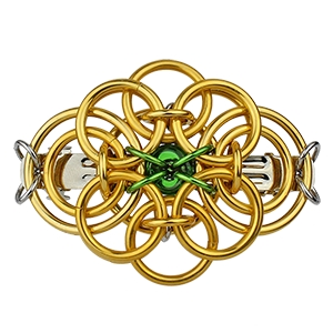 Celtic Traditions Barrette, KIT - Celtic Traditions Barrette - Gold AA w. Emerald Glass - St. Pats edition, St. Patrick's Day chainmaille barrette