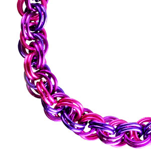 purple, pink and violet spiral rope chainmaille weave
