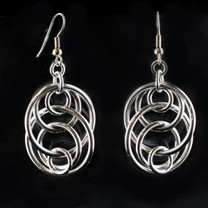 silver hoop floating earrings with different size circles