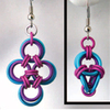 Japanese Cross & Polyhedron Earrings, KIT - Japanese Cross & Polyhedron  - Earrings - Berry, 2 pairs