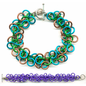 shaggy loops bracelet in turquoise green and brown and purple shaggy loops chain mail