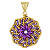 Solar Swirl , KIT - Solar Swirl kit as shown in step by step photos - gold, purple & violet, solar swirl chainmaille medallion pendant in gold and violet