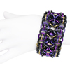 Rubber Rondo a la Byzantine, KIT- Maillers' Choice - Rubber Rondo Merlin w/ Black , black rubbermaille rondo a la byzantine cuff with gold and purple jump rings